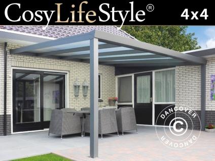 Terrassenüberdachung Expert aus Polycarbonat, 4x4m, Anthrazit