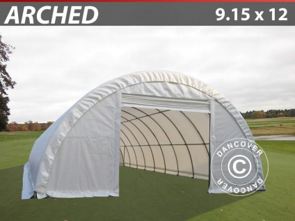 Rundbogenhalle Lagerzelt 9, 15x12x4, 5m, PVC, Weiß