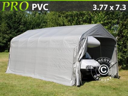 Zeltgarage Lagerzelt Garagenzelt PRO 3, 77x7, 3x3, 18m PVC, Grau
