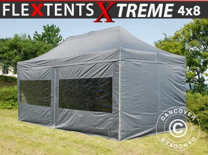 Faltzelt FleXtents Xtreme 4x8m Grau, mit 6 wänden