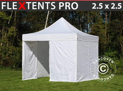 Faltzelt Faltpavillon Wasserdicht FleXtents PRO 2, 5x2, 5m Weiß, mit 4 Seitenwänden