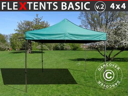 Faltzelt Faltpavillon Wasserdicht FleXtents Basic v.2, 4x4m Grün