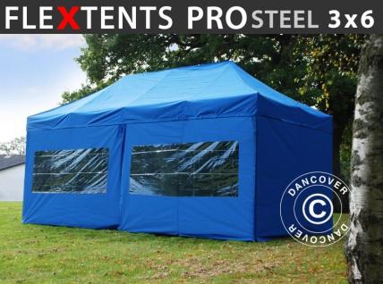 Faltzelt Faltpavillon Wasserdicht FleXtents PRO Steel 3x6m Blau, mit 6 Seitenwänden