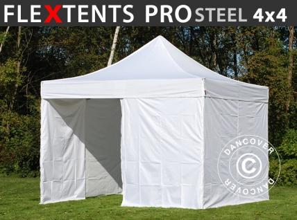 Faltzelt Faltpavillon Wasserdicht FleXtents PRO Steel 4x4m Weiß, mit 4 Seitenwänden