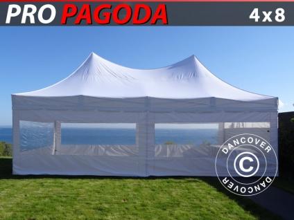 Faltzelt Faltpavillon Wasserdicht FleXtents PRO Peak Pagoda 4x8m Weiß, mit 6 Seitenwänden