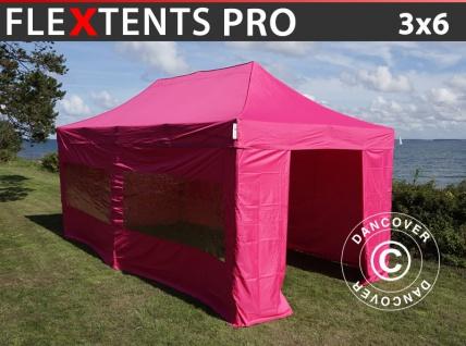 Faltzelt FleXtents PRO 3x6m Rosa, mit 6 wänden