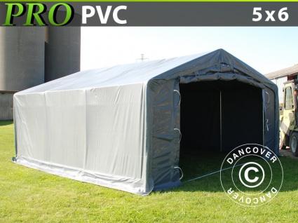 Lagerzelt Zeltgarage Garagenzelt PRO 5x6x2x2, 9m, PVC, Grau
