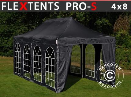 Faltzelt Faltpavillon Wasserdicht FleXtents Steel 4x8m Schwarz, mit 4 Seitenwänden