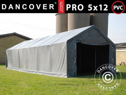 Lagerzelt Zeltgarage Garagenzelt PRO 5x12x2x3, 39m, PVC, Grau