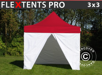 Faltzelt Faltpavillon Wasserdicht FleXtents® PRO, Sanitäts- & Notfallzelt, 3x3m, rot/weiß, inkl. 4 Seitenwände