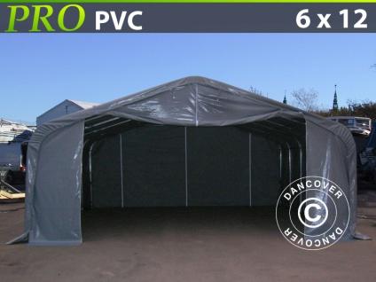 Lagerzelt Zeltgarage Garagenzelt PRO 6x12x3, 7m PVC, Grau