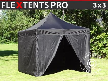 Faltzelt FleXtents PRO 3x3m Schwarz, mit 4 wänden