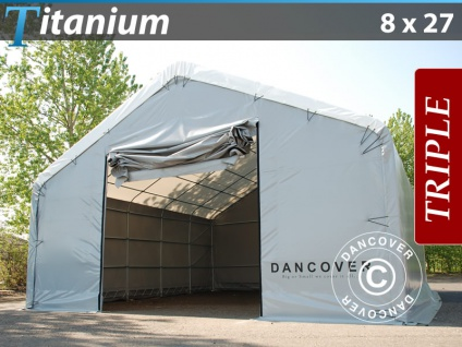 Zelthalle Titanium 8x27x3x5m, Weiß/Grau