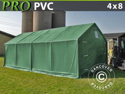 Lagerzelt Zeltgarage Garagenzelt PRO 4x8x2x3, 1m, PVC, Grün