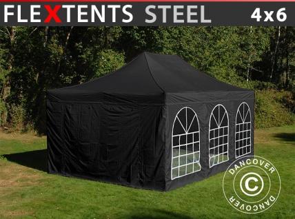 Faltzelt Faltpavillon Wasserdicht FleXtents Steel 4x6m Schwarz, mit 4 Seitenwänden