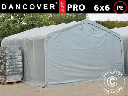 Lagerzelt Zeltgarage Garagenzelt PRO 6x6x3, 7m, PE, Grau