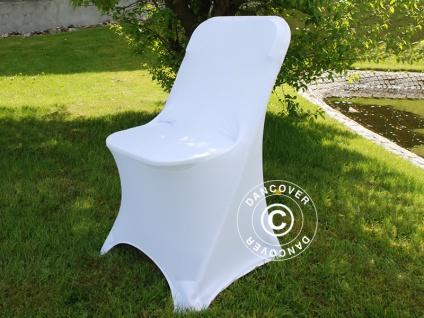 Stretch Stuhlüberzug 44x44x80cm, Weiß (1 stck.) - Vorschau 1