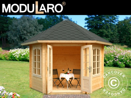 Holzpavillon mit Boden, 3, 03x3, 03x3, 36m, 7, 6m², Natur