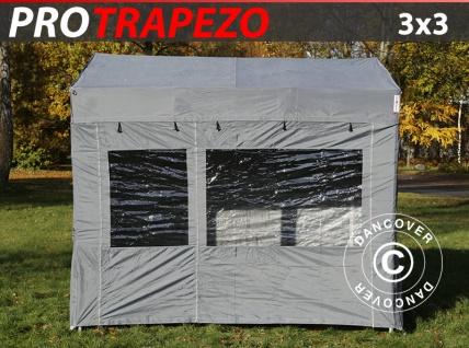 Faltzelt Faltpavillon Wasserdicht FleXtents PRO Trapezo 3x3m Grau, mit 4 Seitenwänden