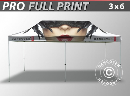 Faltzelt Faltpavillon Wasserdicht FleXtents PRO mit vollflächigem Digitaldruck, 3x6m