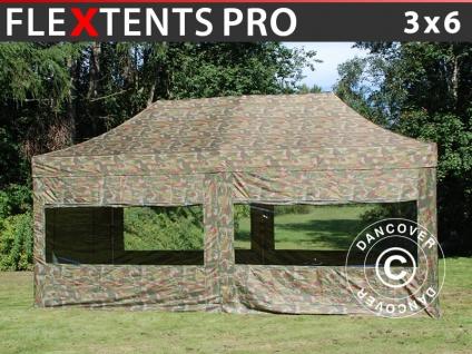 Faltzelt Faltpavillon Wasserdicht FleXtents PRO 3x6m Camouflage, mit 6 Seitenwänden