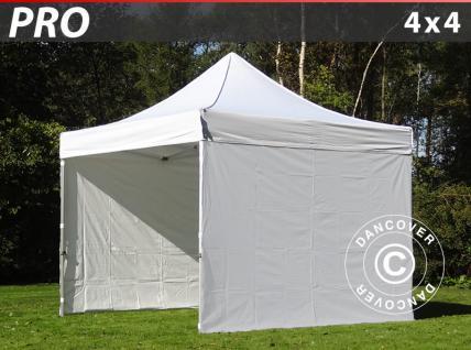Faltzelt Faltpavillon Wasserdicht FleXtents PRO 4x4m Weiß, mit 4 wänden