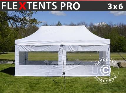 Besucherzelt FleXtents PRO 3x6m weiß, inkl. 6 Seitenwände und 1 transparente Trennwand