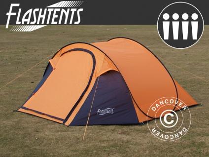 Pop-Up-Campingzelt, Flashtents®, 4 Personen, Medium PT-2, orange/dunkelgrau