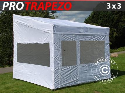Faltzelt Faltpavillon Wasserdicht FleXtents PRO Trapezo 3x3m Weiß, mit 4 Seitenwänden