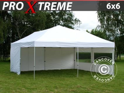 Faltzelt Faltpavillon Wasserdicht FleXtents Xtreme 6x6m Weiß, mit 8 Seitenwänden