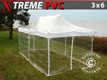 Faltzelt Faltpavillon Wasserdicht FleXtents Xtreme 3x6m Transparent, mit 6 Seitenwänden