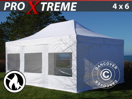 Faltzelt Faltpavillon Wasserdicht FleXtents Xtreme 4x6m Weiß, Flammenhemmend, mit 4 Seitenwänden