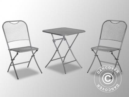 Cafe-Set, Café Latte, 1 Tisch + 2 Stühle, eisengrau