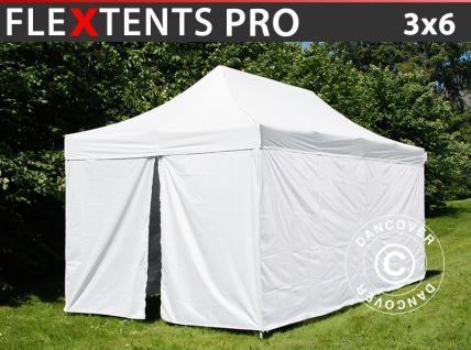 Faltzelt Faltpavillon Wasserdicht FleXtents® PRO, Sanitäts- & Notfallzelt, 3x6m, weiß, inkl. 6 Seitenwände