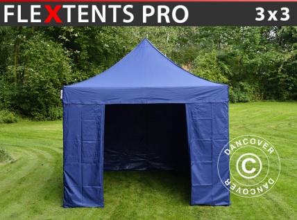 Faltzelt FleXtents PRO 3x3m Dunkeblau, mit 4 wänden