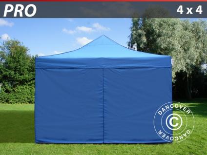 Faltzelt FleXtents PRO 4x4m Blau, mit 4 wänden