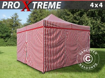 Faltzelt Faltpavillon Wasserdicht FleXtents Xtreme 4x4m Gestreift, mit 4 Seitenwänden