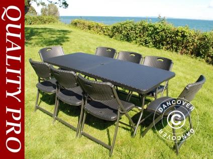 Partypaket, 1 Klapptisch im Rattan-Look PRO (182cm) + 8 Stühle im Rattan-Look, schwarz - Vorschau 1