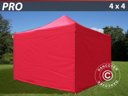 Faltzelt FleXtents PRO 4x4m Rot, mit 4 wänden
