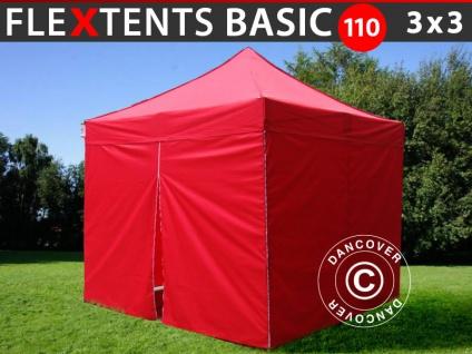 Faltzelt FleXtents Basic 110, 3x3m Rot, mit 4 wänden