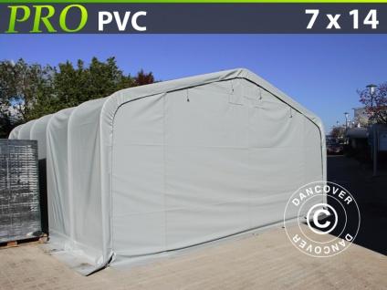 Lagerzelt Zeltgarage Garagenzelt PRO 7x14x3, 8m PVC, Grau