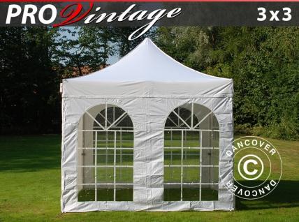 Faltzelt Faltpavillon Wasserdicht FleXtents PRO Vintage Style 3x3m Weiß, mit 4 wänden