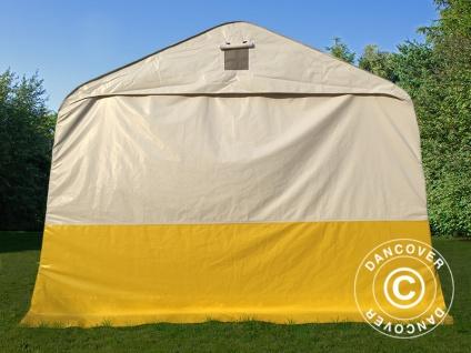 Lager- und Arbeitszelt PRO 3, 6x4, 8x2, 68m, PVC, weiß/gelb, flammfest - Vorschau 4