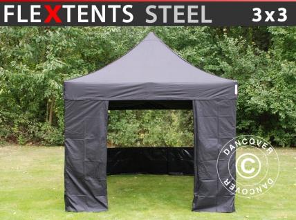 Faltzelt Faltpavillon Wasserdicht FleXtents Steel 3x3m Schwarz, mit 4 Seitenwänden