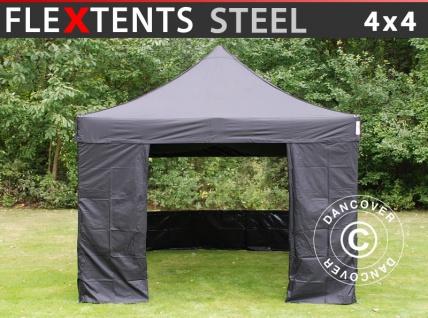 Faltzelt Faltpavillon Wasserdicht FleXtents Steel 4x4m Schwarz, mit 4 Seitenwänden