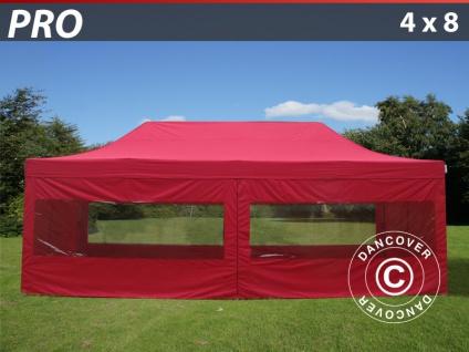 Faltzelt Faltpavillon Wasserdicht FleXtents PRO 4x8m Rot, mit 6 Seitenwänden