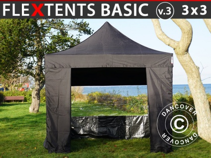 Faltzelt Faltpavillon Wasserdicht FleXtents Basic v.3, 3x3m Schwarz, mit 4 Seitenwänden