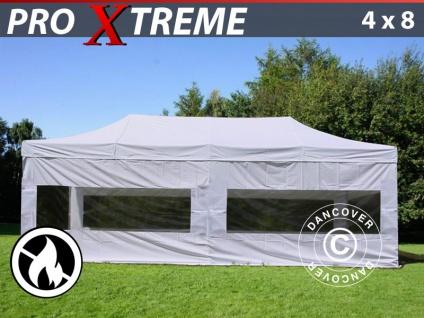 Faltzelt Faltpavillon Wasserdicht FleXtents Xtreme 4x8m Weiß, Flammenhemmend, mit 4 Seitenwänden
