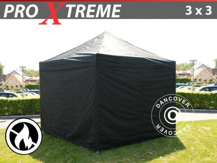 Faltzelt Faltpavillon Wasserdicht FleXtents Xtreme 3x3m Schwarz, Flammenhemmend, mit 4 Wänden