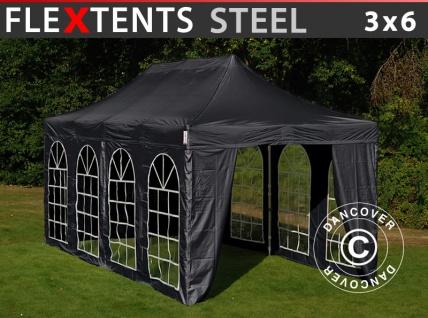 Faltzelt Faltpavillon Wasserdicht FleXtents Steel 3x6m Schwarz, mit 4 Seitenwänden